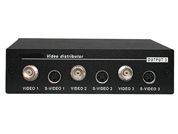 Globalmediapro Y-304 1x3 Video- S-Video and Audio Distributor / Amplifier