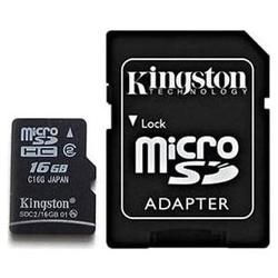 Kingston 16GB Class-2 SDHC MicroSD with SD Adapter Card (SDC2/16GB) - pack 3 pcs