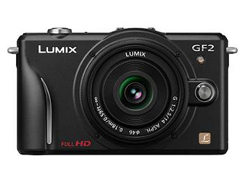 Panasonic Lumix DMC-GF2 Camera PAL Kit with 14mm and 14-42mm Lenses - Black