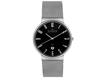 Skagen 355XLSSB Mesh Stainless Steel Black Dial Men's Watch