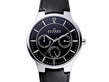 Skagen 331XLSLB Black Leather Strap Men's Steel Watch