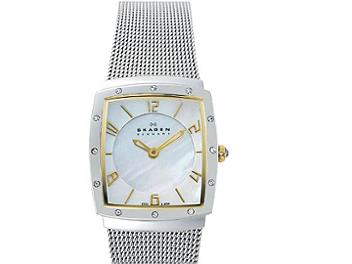 Skagen 396XSGS Two-Tone Square with Glitz Women's Steel Watch