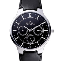 Skagen 331XLSLB Black Leather Strap Men's Steel Watch (pack 5 pcs)