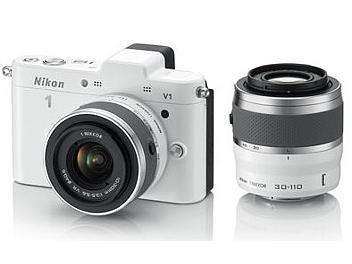 Nikon 1 V1 Camera Kit with 10-30mm and 30-110mm Lenses - White