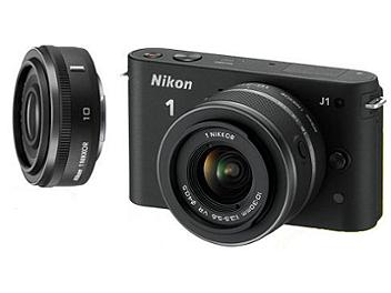 Nikon 1 J1 Camera Kit with 10mm and 10-30mm Lenses - Black
