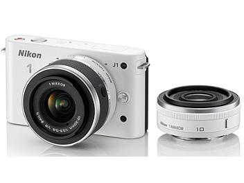 Nikon 1 J1 Camera Kit with 10mm and 10-30mm Lenses - White