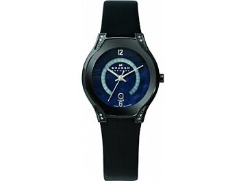Skagen 886SBLB Black Leather Ladies Watch