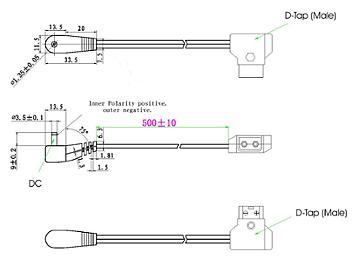 Globalmediapro XD D-Tap (Male) to DV Voltage DC Plug (Female) Power Cable (pack 100 pcs)