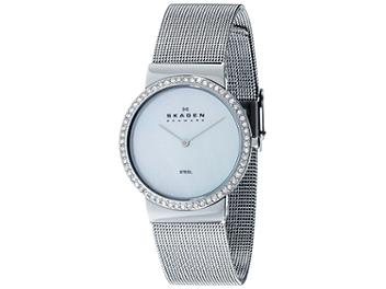 Skagen 644LSS Crystal Accented Mesh Stainless Steel Ladies Watch