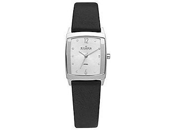 Skagen 691SSLS Stainless Steel Black Leather Strap Ladies Watch