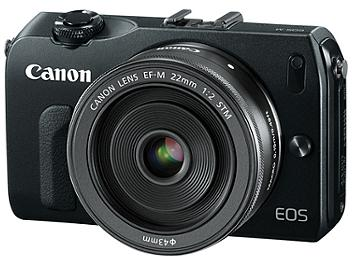Canon EOS-M Digital Camera with Canon EF-M 22mm F2 STM and EF-M 18-55mm F3.5-5.6 IS STM Lenses - Black