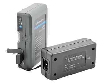 Globalmediapro Li95S V-Mount Li-ion Battery 95Wh + 1-channel Charger + Power Cable for Blackmagic Cinema Camera (TRY OUT KIT for BMCC)