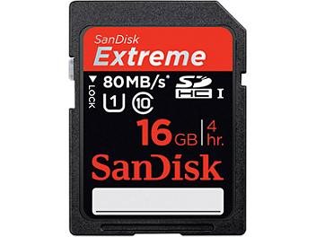 SanDisk 16GB Extreme Class-10 SDHC Card 80MB/s