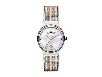 Skagen 355SSRS Classic Two Tone Striped Mesh Women's Watch