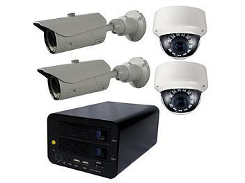Globalmediapro T-NS-0400 NVR + 2 x T-TD20SV + 2 x T-TB20S1 IR Camera Kit NTSC