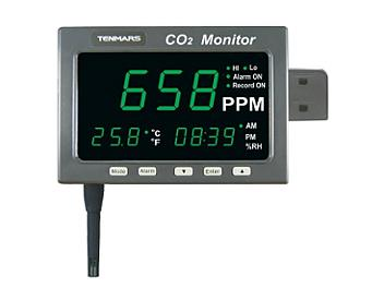 Tenmars TM-186D Large LED Screen CO2/Temperature Monitor with Datalogger